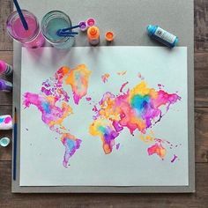 Watercolor art of the Map of the world