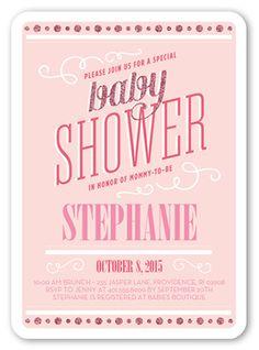 Shimmering Baby Girl 5x7 Invitation | Baby Shower Invitations