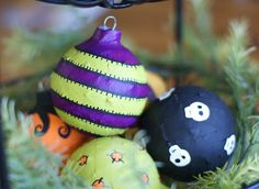 Make Halloween ornaments with old Christmas ornaments using Mod Podge!