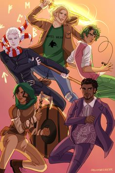 Characters from the Magnus Chase series by Rick Riordan Magnus Chase Percy Jackson Fan Art, Percy Jackson Books, Percy Jackson Fandom, Rick Riordan Series, Rick Riordan Books, Leo Valdez, Magnus Chase Books, Jaco, Alex Fierro