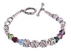 Bracelet, Personalized ... Sterling Silver and Swarovski Crystal--Wow! A personal and beautiful gift for any mom or grandma. Personalized name and birthstones make this gift truly one of a kind! A thoughtful and memorable present!