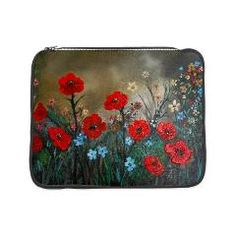 """15"""" laptop sleeve with bright red poppies and taupe background."""