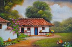 cuadros-artesanales-paisajes-colombianos Cool Paintings, Beautiful Paintings, Beautiful Landscapes, Star Painting, House Painting, Pictures With Meaning, Caribbean Art, Summer Painting, Country Landscaping