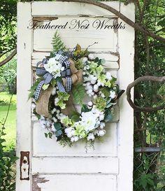 Cotton Wreath Farmhouse Wreath Rustic Decor Cotton Boll