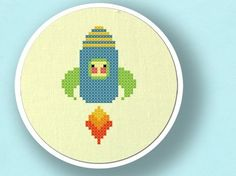 Cute Rocket. Cross Stitch PDF Pattern by andwabisabi on Etsy, $3.00