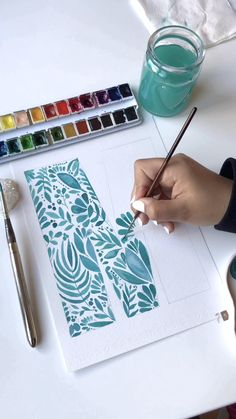 Plant doodle M letter plant painting watercolor painting | Etsy Leihnwände.. Leihnwände
