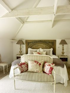 French cottage bedroom w/ antique headboard