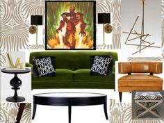 Art deco green sofa with comic