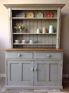 Antique #victorian hand painted grey pine #country #dresser kitchen unit welsh ,  View more on the LINK: http://www.zeppy.io/product/gb/2/162026353897/