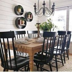 modern farmhouse dining room design, neutral dining room decor, fixer upper dining room ideas, with farmhouse table and chandelier with jute rug and black windsor dining room chairs and shiplap Dining Room Wall Decor, Dining Room Design, Dining Room Shelves, Dining Room Picture Wall, Kitchen Dining, Kitchen Decor, Rustic Kitchen Chairs, Black Kitchen Chairs, Kitchen Cabinets