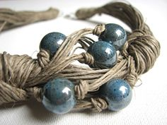 Ceramic Navy Blue linen necklace by GreyHeartOfStone on Etsy, $28.00