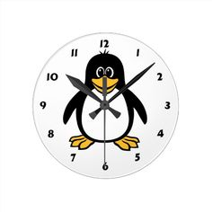 peguin+clocks | Funny Penguin Round Clocks