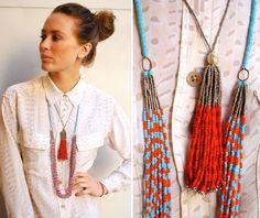 bluma project tribal tassel glass bead necklaces...