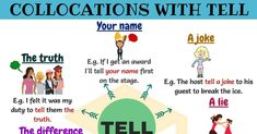 Collocations with Tell! Learn commonly used collocations and expressions with Tell in English with example sentences and ESL picture to improve your English. Teaching English Grammar, English Language Learning, English Writing, English Vocabulary, Learn English For Free, Improve Your English, English Verbs, English Phrases, Printables