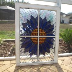Stained Glass Mosaic Wooden Window Repurpose by ARTfulSalvage, $325.00