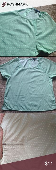 Mint green AE top Mint polka dot top from American Eagle. Very cute spring or summer blouse in GUC. Very minor piling, not noticeable. From smoke free home! American Eagle Outfitters Tops Blouses