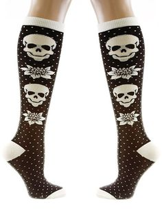 Love!! Spooky Tapestry Knee High Socks by Loungefly, BLACK