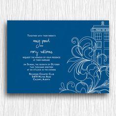 Printable Wedding Invitation  Blue and White Tardis by doodledew, $12.00 Do Bridal Shower instead.... @Erika Egbert
