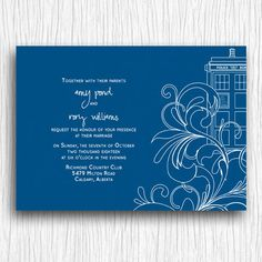 Doctor who inspired tardis wedding by bohobearpaperstudio on etsy printable wedding invitation blue and white tardis swirls stopboris Image collections