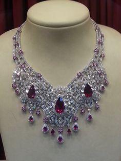 diamonds and rubies Royal Jewelry, Ruby Jewelry, Luxury Jewelry, Indian Jewelry, Jewelery, Fine Jewelry, Real Diamond Necklace, Fashion Jewelry, Women Jewelry