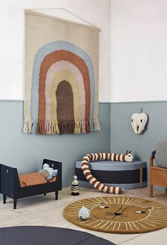 We just love this stunning Rainbow Wall Rug! It will give the room a real 'wow' factor with its muted contemporary tones. Accessorise with complimenting Rainbow, mustard/rust or animal items to really bring this wall rug to life! Baby Decor, Kids Decor, Kids Bedroom, Bedroom Decor, Bedroom Lighting, Bedroom Lamps, Bedroom Ideas, Bedroom Furniture, Nursery Chandelier