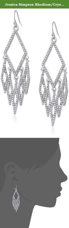 Jessica Simpson Rhodium/Crystal Diamond Chandler Earrings Earrings. Made in China. diamond chandiler earring. Imported.