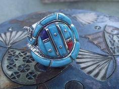 Southwest Style  Hand Finished Turquoise Sterling Silver Snake Ring (Size 6.0) #Southwestern