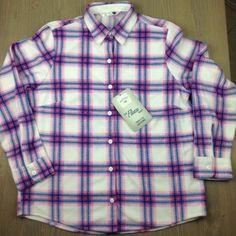 Lee Riders Fleece Shirt Small Womens Long Sleeve Soft LTWT Plaid Pink White NWT