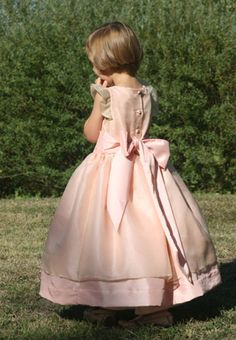 Lovely flower girl dress with silk organza overlay and flounce sleeves! Now available as part of our ready-to-wear collection!