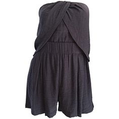 Preowned New Elizabeth And James Charcoal Gray Draped Romper Playsuit... ($295) ❤ liked on Polyvore featuring jumpsuits, rompers, grey, grey romper, elizabeth and james romper, elizabeth and james, strapless romper and playsuit romper