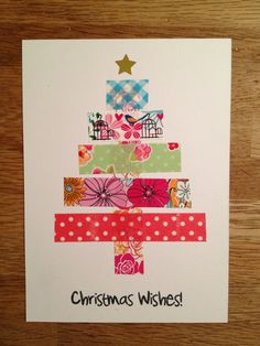 handmade Christmas card ... clean and simple ... bright washi tape stripes form a Christmas tree topped with a gold star ...