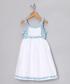 Take a look at this White & Blue Floral Ruffle Carte Dress - Infant, Toddler & Girls by Alouette on #zulily today!