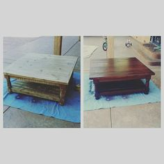 Diy project.. Coffee table sanded, cleaned, stained and sealed..   #diy #projects #decor #coffeetable