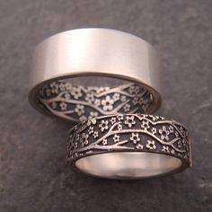 Opposites Attract Wedding Band Set Cherry blossoms by DownToTheWireDesigns