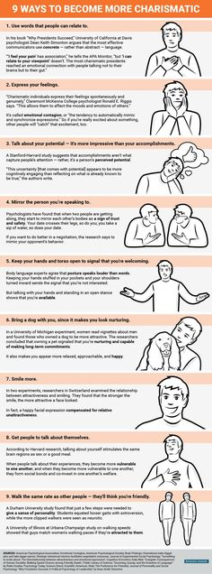 : 9 proven strategies to become more charismatic. Psychology infographic and charts 9 proven strategies to become more charismatic…. Infographic Description 9 proven strategies to become more charismatic. -Psychology infographic and charts 9 Self Development, Personal Development, Life Skills, Life Lessons, Coaching, Mental Training, Communication Skills, Assertive Communication, Successful People