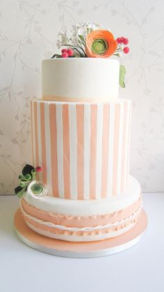 Striped Peach and White Wedding Cake