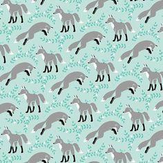 Fox Fabric! Socks the Fox in Aqua by Michael Miller Fabrics  1/2 by Owlanddrum, $5.25