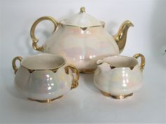 Antique Ellgreave Tea Pot Set, Ellgreave Lusterware Teapot, Ivory and Gold Iridescent Teapot Creamer and Open Sugar. by BeadsbyVince on Etsy
