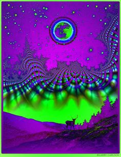 LARRY CARLSON Full Buck Moon / Purps Remix 36 x 24in limited-edition archival pigment print on metallic paper. Super rare collector's item! Ver...