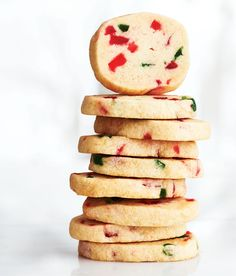 Cherry Icebox Cookies —These red and green–speckled cookies are the perfect way to spread the festive spirit. If you like, substitute the glac? cherries for another candied fruit. Cherry Recipes, Fruit Recipes, Baking Recipes, Cookie Recipes, Dessert Recipes, Desserts, Fruit Cookies, Cherry Cookies, Xmas Cookies