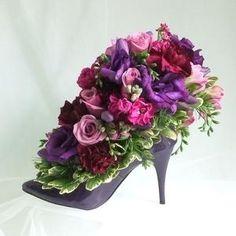 High Heel Shoe Flower Arrangement | Mauve high heel floral design