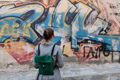 corduroy green-dark blue backpack