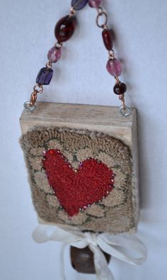 Primitive Punch Needle Red Heart Ornament by Gollywobbles on Etsy, $15.00