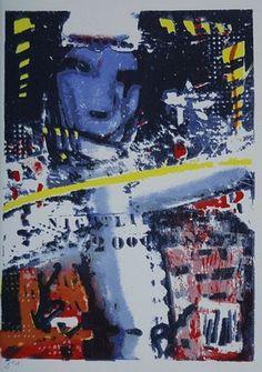 """Uit de Herman Brood """"Brood box"""" de in de druk gesigneerde zeefdruk NIGHTLIFE 2000, formaat 30 x 41 cm."""