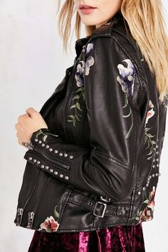 BLANKNYC As You Wish Floral Embroidered Moto Jacket - Urban Outfitters