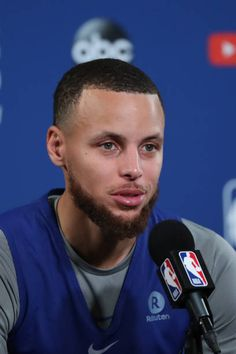 Stephen Curry of the Golden State Warriors speaks to the media during media availability as part of the 2018 NBA Finals on June 2 2018 at ORACLE. Stephen Curry Wallpaper, Stephen Curry Pictures, Nba Champions, Backrounds, Golden State Warriors, Kobe Bryant, Finals, June, Basketball