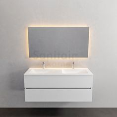 Zaro Valencia Solid Surface badmeubel 120cm mat wit 2 kraangaten dubbele spoelbak