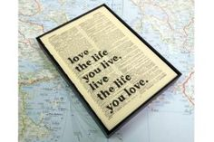 Wall Envy Art - Love the Life you Live... Printed on antique books... £22