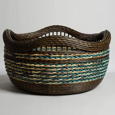 4 Inset Handle 2 Section Plaiting Brown/Turquoise Basket by Peeta Tinay
