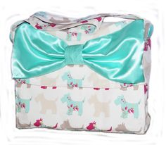 Laptop bag with sky blue bow